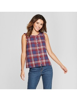 Women's Plaid Button Front Blouse   Universal Thread™ Navy by Universal Thread™