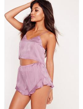 Satin Cropped Pyjama Set Lilac by Missguided
