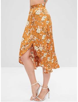 Floral Ruffles Asymmetrical Skirt   Caramel S by Zaful