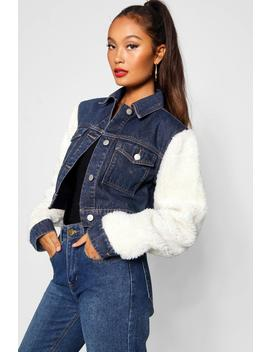 Veste En Denim à Manches Teddy by Boohoo
