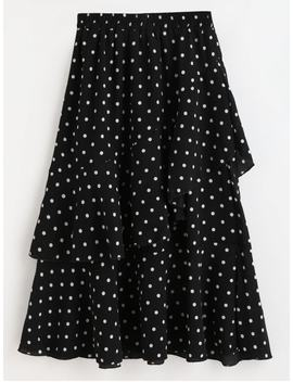 Polka Dot Asymmetrical Ruffle Midi Skirt   Black M by Zaful
