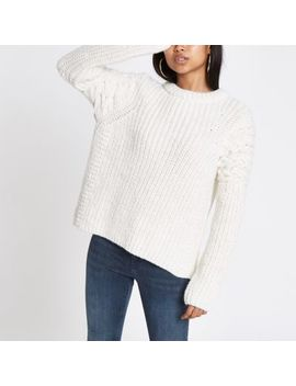 Petite Cream Cable Knit Crew Neck Jumper by River Island