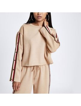 Petite Beige Tape Popper Side Sweatshirt by River Island