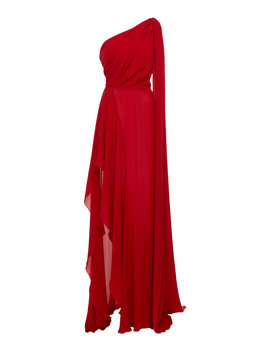 One Shoulder Draped Silk Georgette Dress by Elie Saab