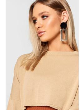 Velvet & Gold Contrast Statement Earrings by Boohoo