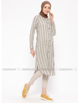 Khaki   Stripe   Point Collar   Tunic by Modanisa