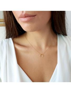 Goldene Halskette, Gold Horn Halskette, Doppelt Mais Halskette, Massivem Gold Halskette, Gold Charmehalskette, Horn Halskette, Halsketten, Halbmond by Etsy
