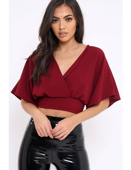 Wine Plunge Crop Top   Suzanne by Rebellious Fashion