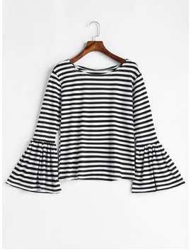 Flare Sleeve Striped T Shirt   Black Xl by Zaful