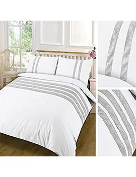 Lawrance Caprino® New Lace Dia Duvet Cover Set Egyptian Cotton Sequins Lace Plain (White) (Double) by Lawrance Caprino®