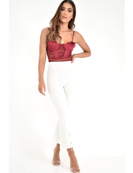 Wine Scalloped Lace Satin Bodysuit   Jeriah by Rebellious Fashion