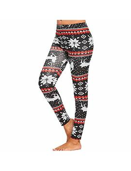Christmas Yoga Pants,Women's Casual Print Patchwork Stretch Fitness Yoga Leggings Casual Trouser By Newonesun by Newonesun Pant