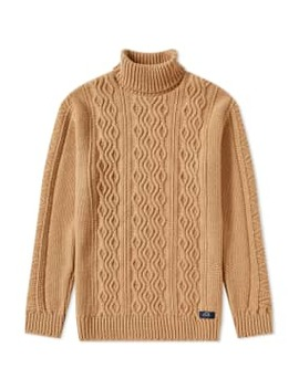 Bleu De Paname Irish Cable Roll Neck Knit by Bleu De Paname