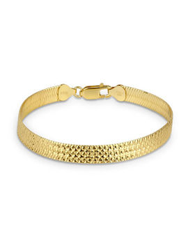 Made In Italy 18 K Gold Over Silver 7.5 Inch Solid Herringbone Chain Bracelet by Fine Jewelry