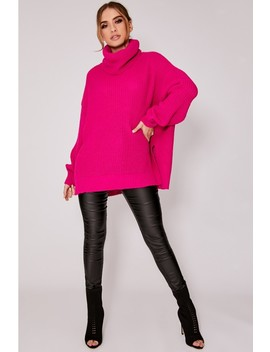 Lybbi Bright Pink Roll Neck Oversized Knitted Jumper by In The Style