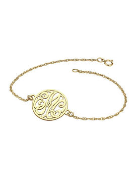 Personalized 10 K Gold 20mm Monogram Bracelet by Fine Jewelry