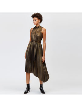 Foil Pleated Midi Dress by Warehouse