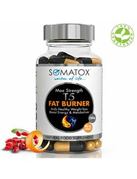 Somatox T5 Fat Burner ★ Ultimate Max Strength ★ Natural Weight Loss • Burn Fat • Slimming Diet Pills • Boost Energy • Thermogenic Supplement ★ Max Strength 1300mg / 90 Veg Caps 30 Day Supply ★ Made Uk by Somatox