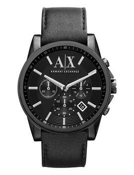 |X Armani Exchange Men's Black Leather Strap Watch 45mm Ax2098 by A|X Armani Exchange