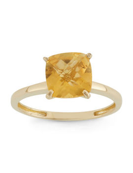 Womens Orange Citrine 10 K Gold Square Cocktail Ring by Fine Jewelry