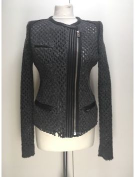 Iro Lina Jacket Black Leather Trim Grey Wool Fitted Biker Jacket Zip Up Fr 42 12 by Ebay Seller