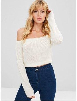 Zaful Off Shoulder Crop Chunky Sweater   White M by Zaful