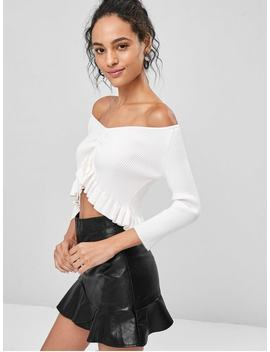 Ribbed Soft Peplum Pullover Sweater   White M by Zaful