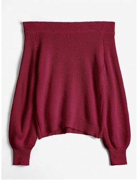 Off The Shoulder Lantern Sleeve Pullover Sweater   Firebrick by Zaful
