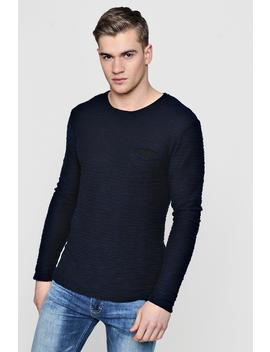 Textured Long Sleeve Crew Jumper by Boohoo