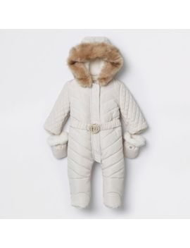 Baby Cream Enclosed Feet Ri Padded Snowsuit by River Island