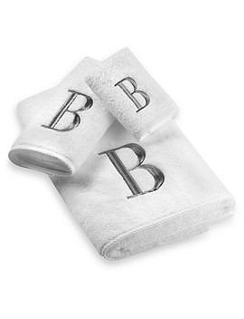 Avanti Premier Silver Block Monogram Hand Towels In White by Bed Bath And Beyond