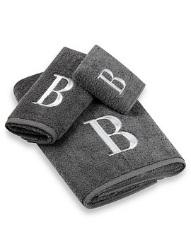 Avanti Premier Silver Block Monogram Hand Towels In Granite by Bed Bath And Beyond