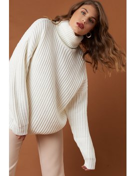 Big Chunky Knitted Sweater Offwhite by Na Kd
