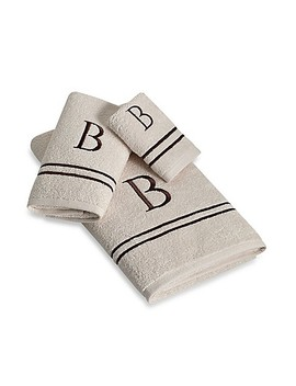 Avanti Monogram Block Letter Hand Towel In Ivory by Bed Bath And Beyond