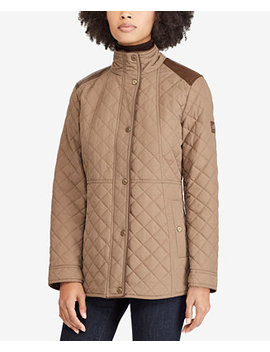 Faux Leather Trim Quilted Coat by Lauren Ralph Lauren