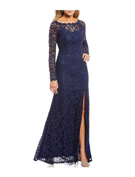 Long Sleeve Sequin Lace Long Dress by Sequin Hearts