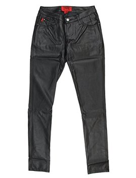 Tripp Nyc Juniors/Womens Vinyl Leather Super Skinny Deville Jeans/Pants In Black by Tripp Nyc