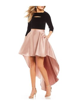 Velvet Top Two Piece High Low Dress by Jodi Kristopher