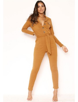 Jeanie Mustard Ribbed Button Utility Jumpsuit by Missy Empire