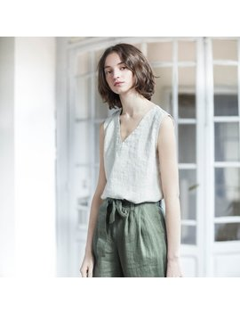 Loose Pleated   Front Boyfriend Linen Pants / Slightly Tapered High Waist Washed Linen Pants by Etsy