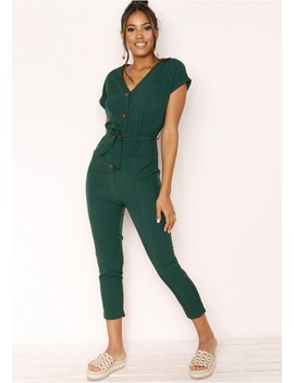 Jana Green Button Jumpsuit by Missy Empire