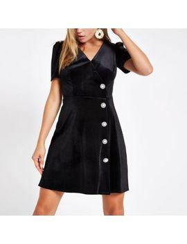 Black Velvet Embellished Button Mini Dress by River Island