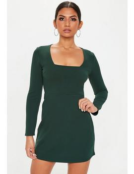 Green Square Neck Shift Dress by Missguided