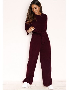 Lisa Wine Knit Ribbed Tie Co Ord Set by Missy Empire