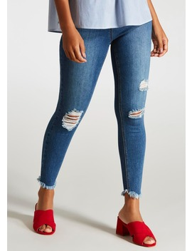 April Ripped Frayed Hem Super Skinny Ankle Grazer Jeans by Matalan