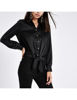 Black Satin Tie Front Button Up Shirt by River Island