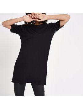 Black Longline T Shirt by River Island