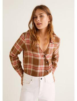 Asymmetrical Check Shirt by Mango