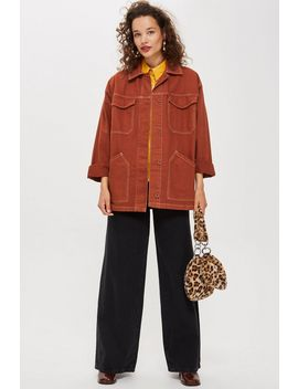 Rust Topstitch Shacket by Topshop
