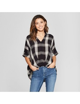 Women's Wrap Front Plaid Blouse   Universal Thread™ Black by Universal Thread™